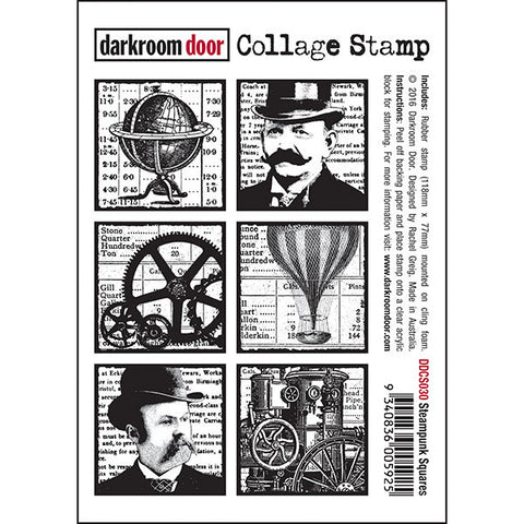 Collage Stamp - Steampunk Squares - Darkroom Door
