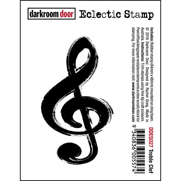 Darkroom Door cling rubber stamp, treble clef