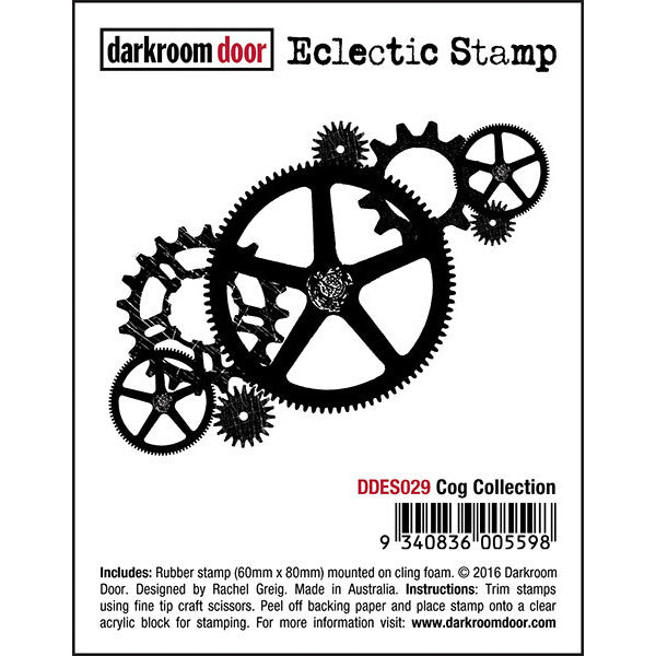 Darkroom Door cling rubber stamp, Cogs
