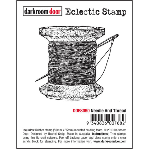 Needle and Thread ... Eclectic Rubber Art Stamp by Darkroom Door.