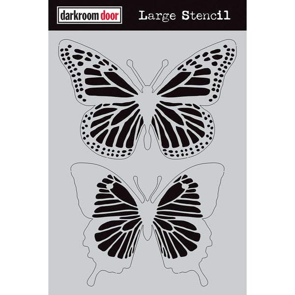 Darkroom Door Art Stencil featuring 2 large Butterflies