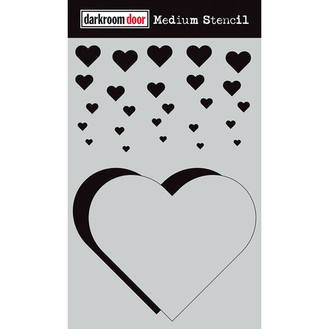 Darkroom Door Stencil and Mask - Medium - Cascading Hearts