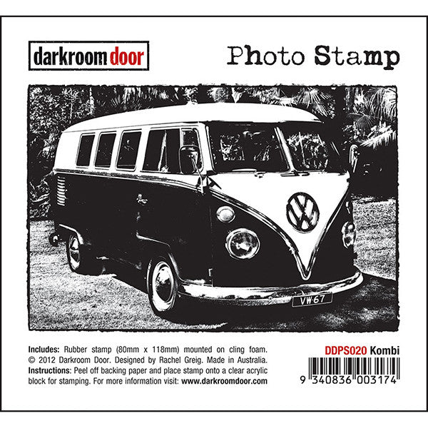 Photographic Art Stamp of Darkroom Door Volkswagen Combi