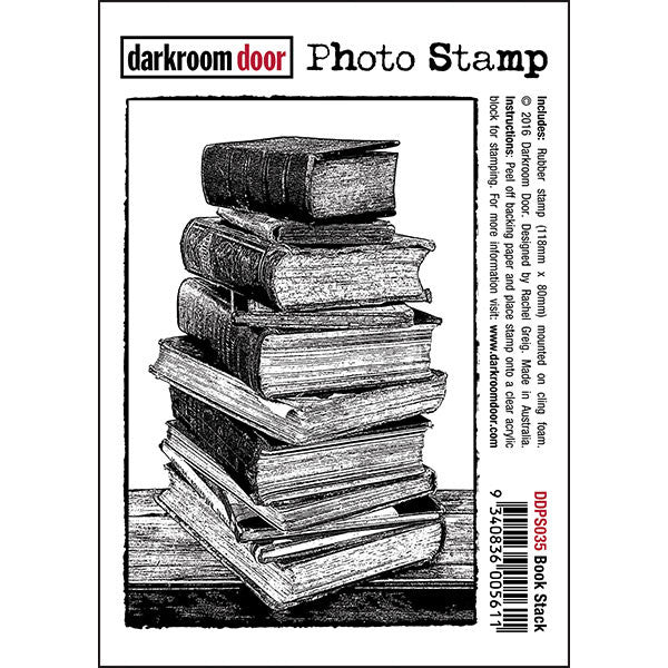 Photo Stamp - Book Stack - Darkroom Door