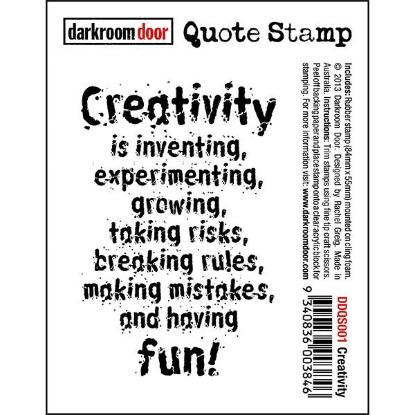 "Quote Stamp by Darkroom Door - Creativity. ""Creativity is inventing, experimenting..."" quote on a rubber stamp for mixed media, art journaling, scrapbooking."