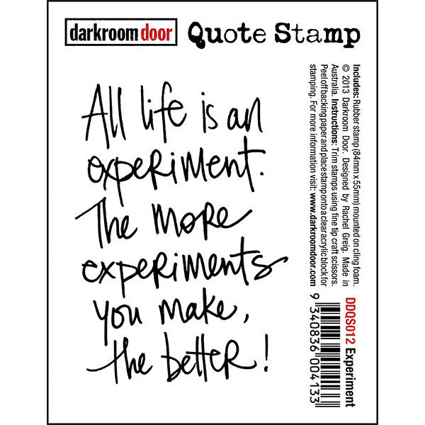 "Quote Stamp by Darkroom Door - Experiment. ""All life is an experiment. The more experiments you make, the better!"" quote on a rubber stamp for arts, papercrafts, scrapbooking."