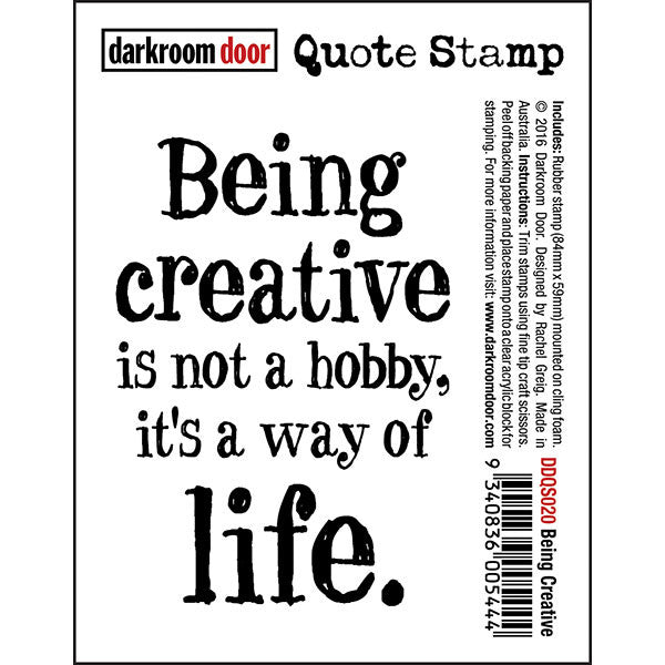 Darkroom Door quote stamp - Being Creative