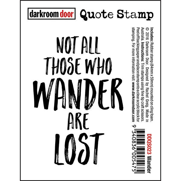 Darkroom Door stamp with a quote, Wander
