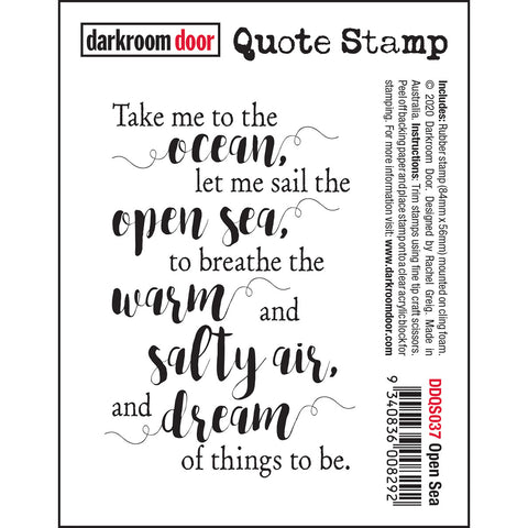 Open Sea - cling rubber quote stamp from Darkroom Door