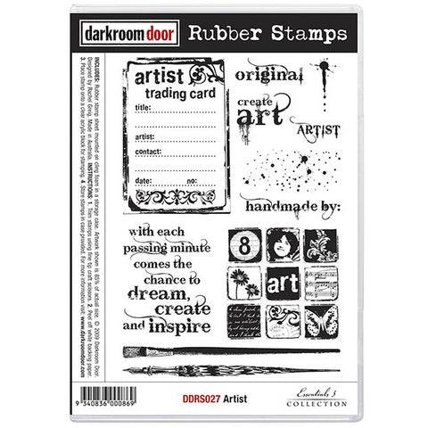 Rubber Stamp Set - Artist - Darkroom Door. This stamp set includes an ATC background, a quote plus other art related images.