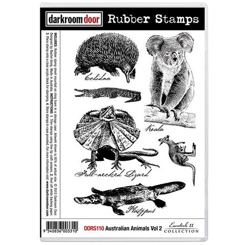 Rubber Stamp Set - Australian Animals vol 2 - Darkroom Door. 6 unique animals from Australia - echidna, koala, crocodile, frill necked lizard, kangaroo and platypus.