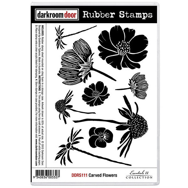Rubber Stamp Set - Carved Flowers - Darkroom Door