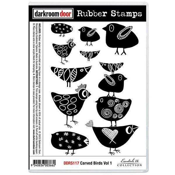 Rubber Stamp Set - Carved Birds vol 1 - Darkroom Door. Designed to look hand carved, there is a bird stamp in this set for every day plus a few extra!