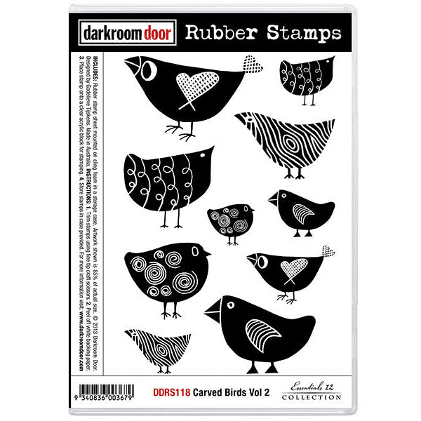 Rubber Stamp Set - Carved Birds vol 2 - Darkroom Door. Designed to look hand carved, there is a bird stamp in this set for every day plus a few extra!