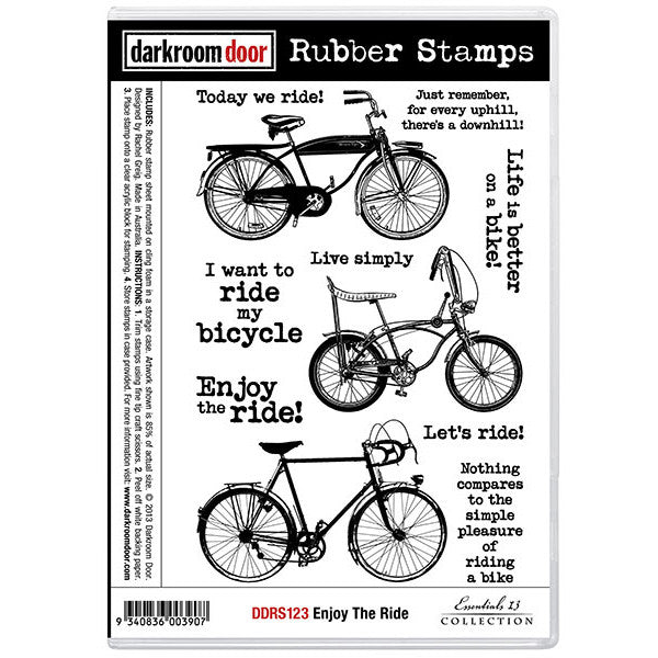 Rubber Stamp Set - Enjoy the Ride - Darkroom Door. A collection of bicycles or bikes with useful sayings for cards, journaling, mixed media or scrapbooking.