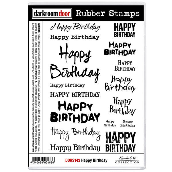 "A set of rubber stamps with 16 different font styles to say ""Happy Birthday""."