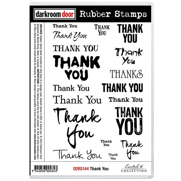 "A set of rubber stamps with 18 different font styles to say ""Thank You"". Use these to tell loved ones you are grateful and appreciative."
