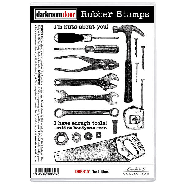 Tool Shed rubber stamp set. Practical images including a phillip's head screwdriver, hammer, tape measure, wrench, saw and more :)