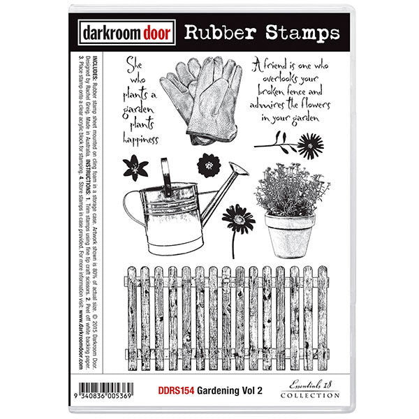 Darkroom Door stamp set, gardening vol 2 This set includes a picket fence, plant pot, a couple of quotes and other garden essentials.