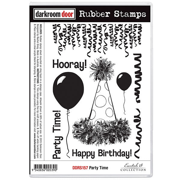 This wonderful stamp set makes me smile - it includes Hooray! Party Time! Happy Birthday! and streamers, balloons and fabulous party hat.