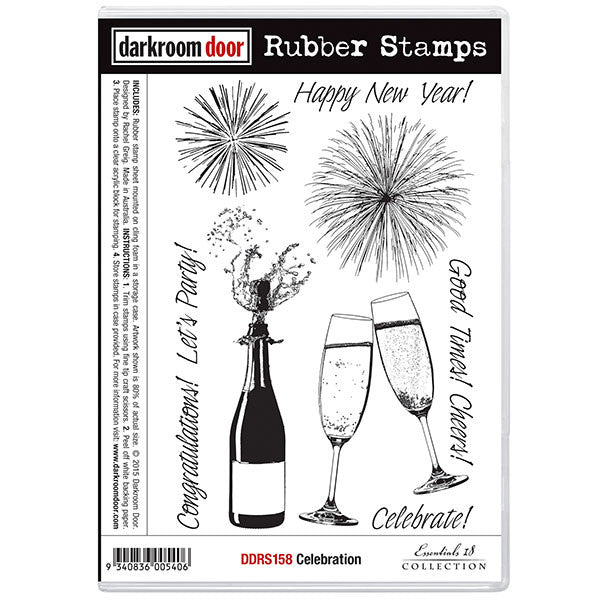 This wonderful stamp set includes fireworks, a bottle of bubbly, 2 clinking champagne glasses and a variety of words suitable for cards, journaling and more.