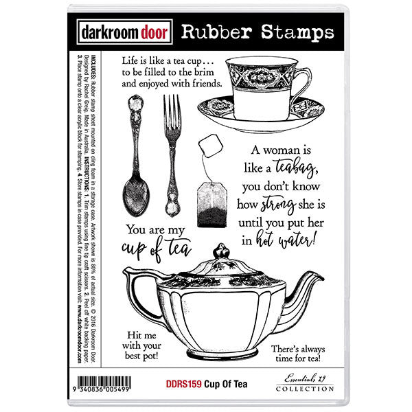 Darkroom Door cling rubber stamp set, cup of tea