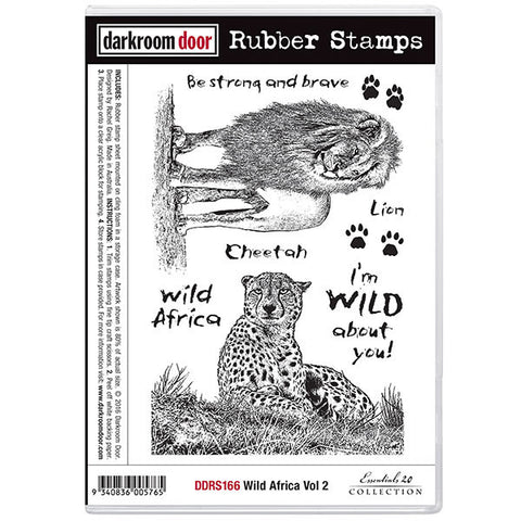 Darkroom Door rubber stamp set, lion and cheetah