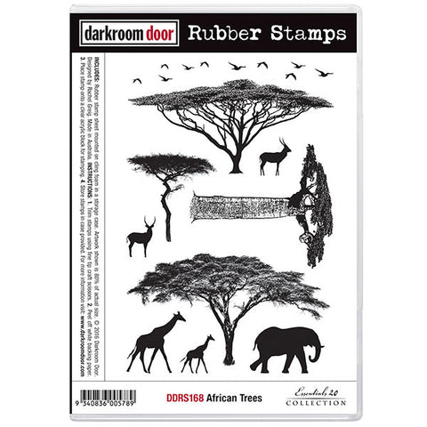 Darkroom Door cling stamp set, African animals and trees