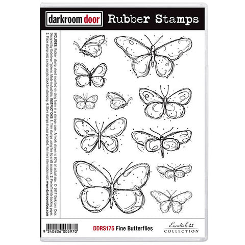 Darkroom Door cling rubber stamp set featuring butterflies