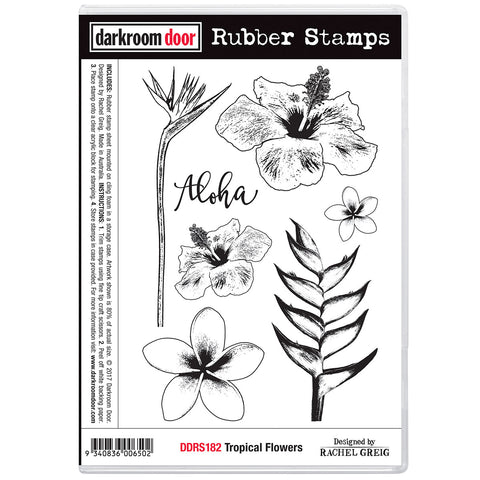 craft stamp collection of tropical flowers includes the bird of paradise, frangipani and hibiscus