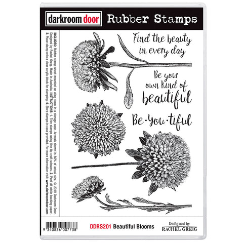 Darkroom Door Rubber Stamps called Beautiful Blooms featuring chrysanthemums