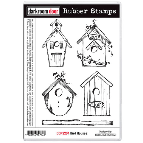 Darkroom Door Rubber Stamp Set of Bird Houses Designed by Godelieve Tijskens