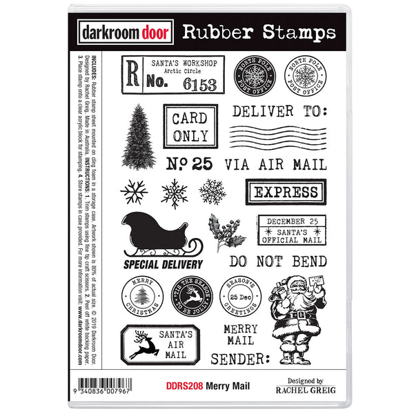 Merry Mail ... rubber stamps by Darkroom Door for Christmas Envelope Decorating