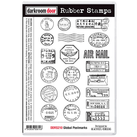 Global Postmarks ... rubber stamps by Darkroom Door - 20 designs