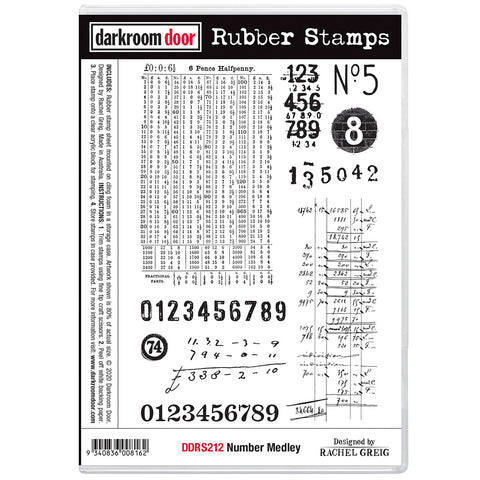 Number Medley ... rubber stamps by Darkroom Door - 10 designs