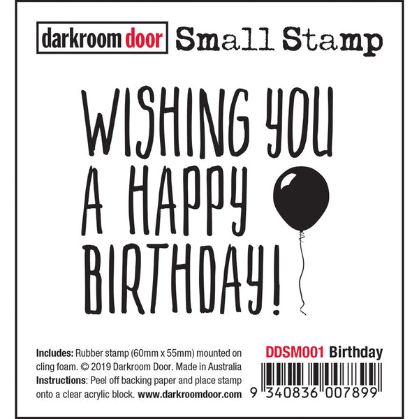Wishing You A Happy Birthday - Small Rubber Stamp by Darkroom Door
