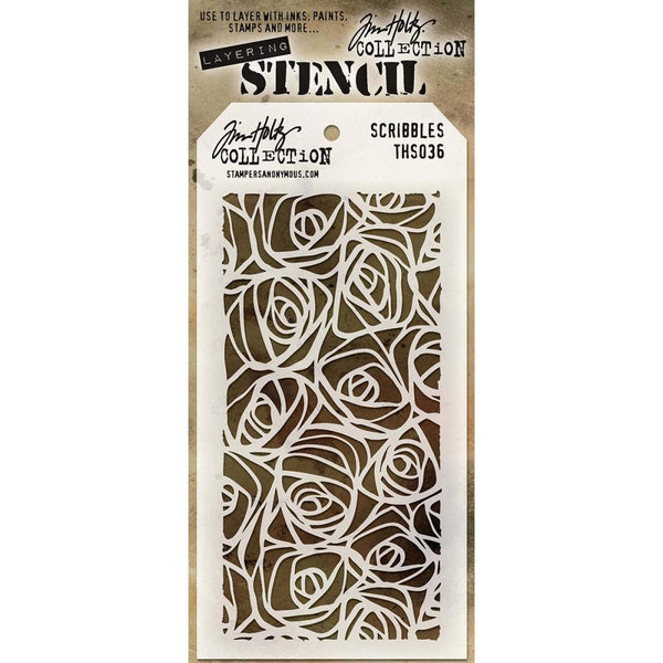 Tim Holtz Layering Stencil - Scribbles. Fab rose styled stencil to use in mixed media, art journaling, crafts and art with a variety of mediums and paints.