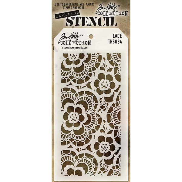 "Tim Holtz Layering Stencil - Lace. A simple and beautiful lace stencil featuring 6-petaled daisies (flowers) with intricately ""stitched"" details."