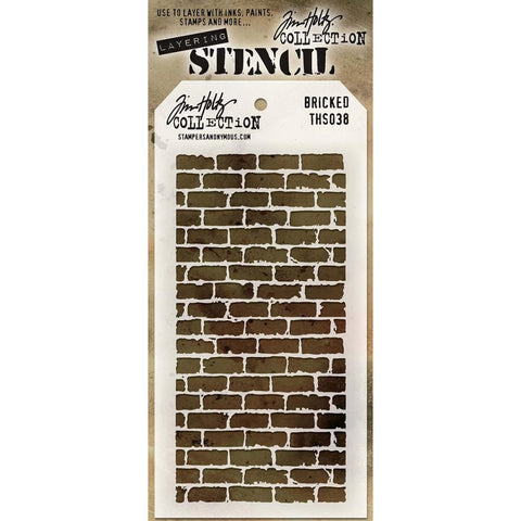 Stencil. A traditional brick pattern re-designed to compliment the rugged and artistic style of Tim Holtz.