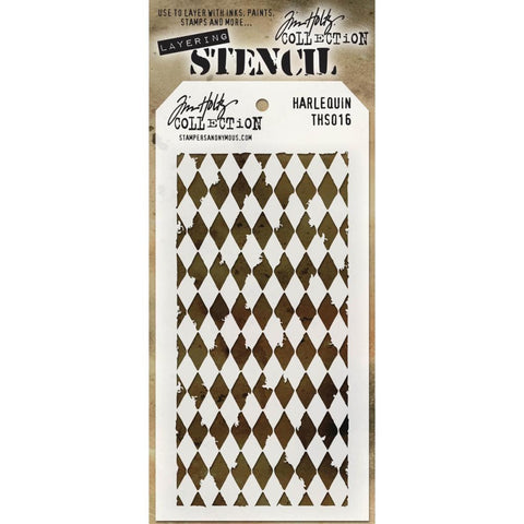 Tim Holtz Stencil. A traditional Harlequin pattern re-designed to compliment the rugged and artistic style of Tim Holtz.