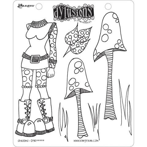 Dylusions Cling Rubber Stamps - Shrooms by Dyan Reaveley