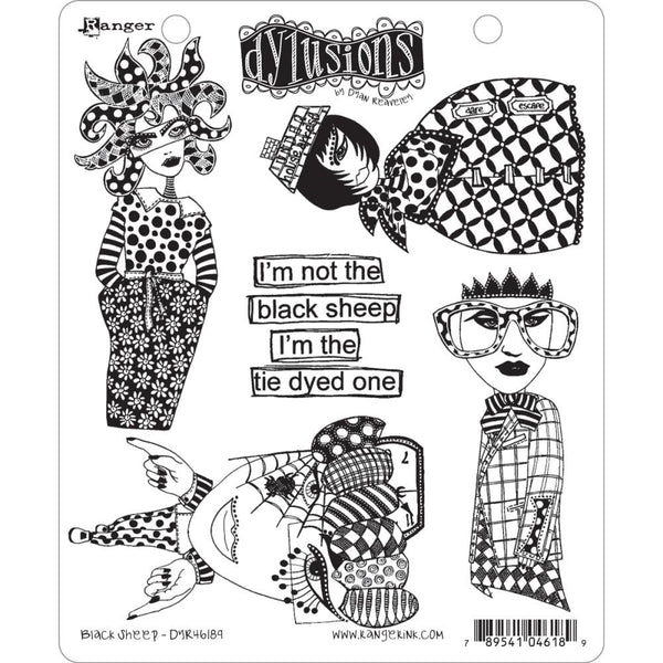 "Dylusions by Dyan Reaveley Cling Stamps - Black Sheep ""I'm not the Black Sheep, I'm the Tye Dyed One"". Unique designs, high quality, perfect for all occasions."