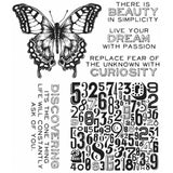 Stamp set by Tim Holtz and Stampers Anonymous. A butterfly, 4 phrases and background stamp of numerals.