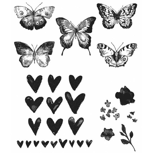 Stamp set by Tim Holtz and Stampers Anonymous. Butterflies, hearts, petals and foliage make up this beautiful collection of stamps.