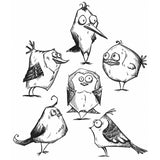 Stamp set by Tim Holtz and Stampers Anonymous. 6 feathered friends hanging out in a collection of cling rubber stamps.