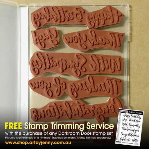 Stamp trimming service, free with any Darkroom Door stamp set purchase