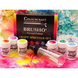 ColourCraft Ltd Brusho Crystal Colour - Watercolour Pigments - 6 Colours with Spritzer Bottle