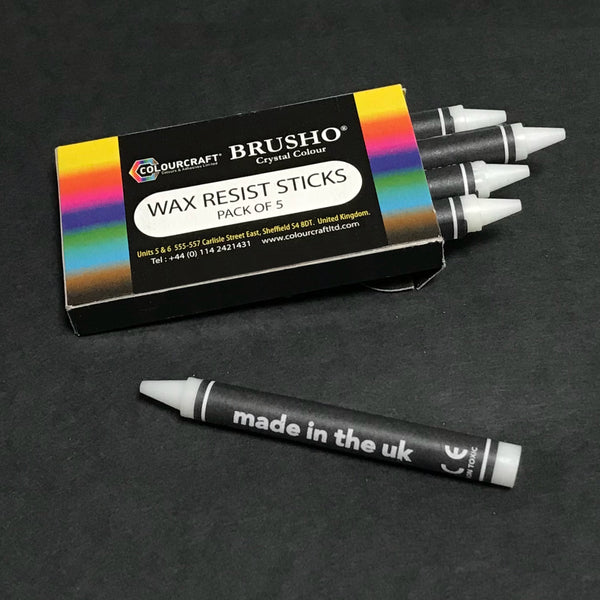 Brusho Wax Resist Sticks - 5 (five) Clear Crayons by ColourCraft Ltd