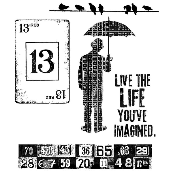 Tim Holtz Cling Stamps - Creative Muse with the Umbrella Man, quote and birds on a wire