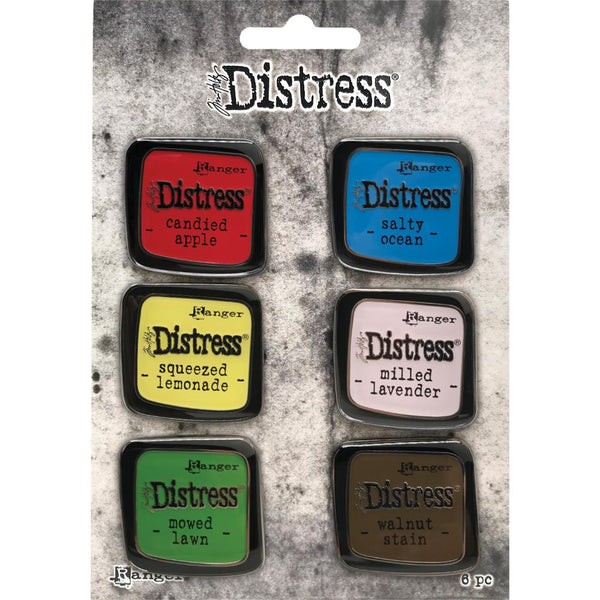 Tim Holtz Distress Enamel Collector Pins - Set no.5 (Candied Apple, Squeezed Lemonade, Mowed Lawn, Salty Ocean, Milled Lavender, Walnut Stain)